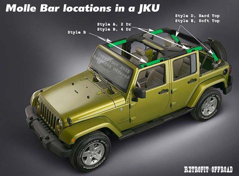 4 Door Jku Jeep Wrangler Molle Bar Storage Kit Soft Top